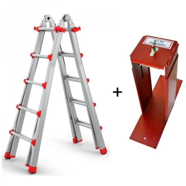 Feuerwehrleiter + Halterung | Teleskopleiter + FLH Maxi | Feuerwehrleiterhalterung | Set | Priosafe