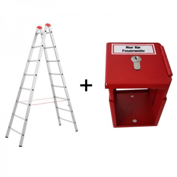 Feuerwehrleiter + Halterung | Sprossenleiter + FLH | Priosafe