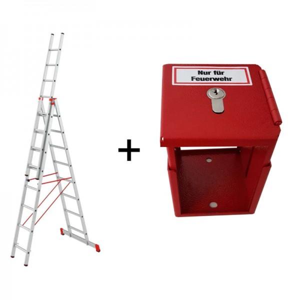Feuerwehrleiter + Halterung | Alu Allzweckleiter + FLH | Priosafe Bundle